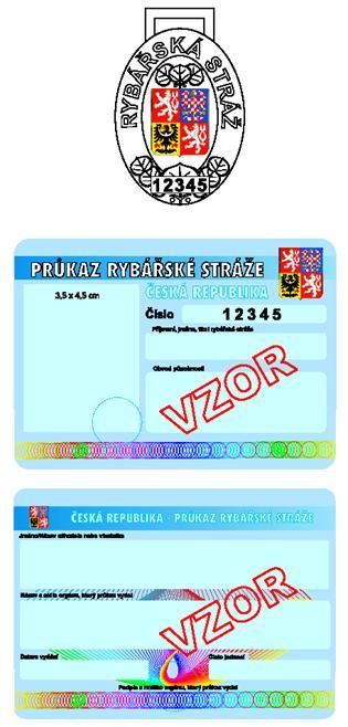 Vzor služebního odznaku a průkazu rybářské stráže.